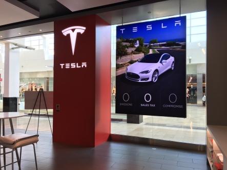 Tesla hanging SEG fabric graphic*